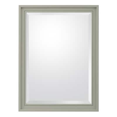 24 in. W x 32 in. H Framed Rectangular Beveled Edge Bathroom Vanity Mirror in Sage Green
