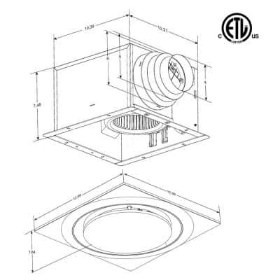 Low Profile 110 CFM 0.9 Sones Quiet Ceiling Bathroom Ventilation Fan with LED Light/Night Light White