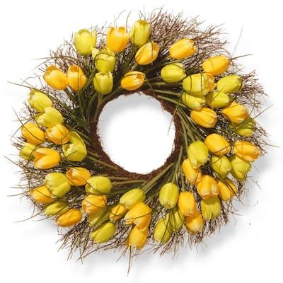 24 in. Yellow Tulip Wreath