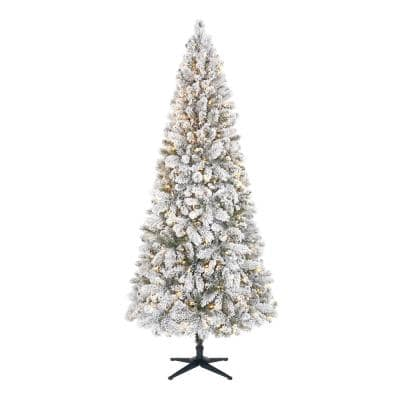 7.5 ft Wesley Long Needle Pine Flocked Slim LED Pre-Lit Tree with 350 SureBright Warm White Lights