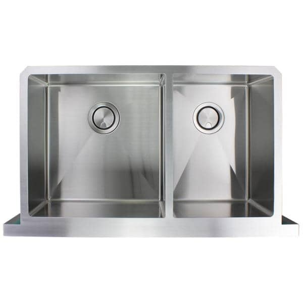 Transolid Diamond Farmhouse Apron Front Stainless Steel 36 In Double Offset Bowl Kitchen Sink In Brushed Finish Dudof362010 The Home Depot