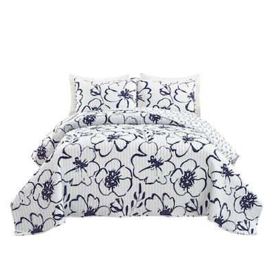3-Piece Navy/White Polyester King Scandinavian Floral Quilt Set