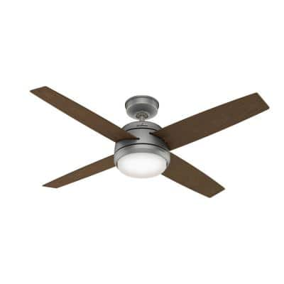 Oceana 52 in. LED Outdoor Matte Silver Ceiling Fan with Light Kit and Wall Control