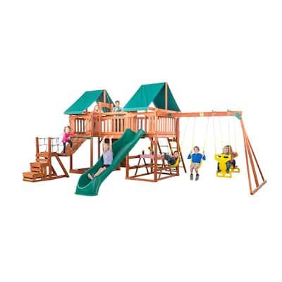 Jungle Fun Complete Wooden Swing Set