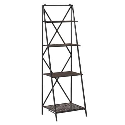 Tall 4-Tier Leaning Black Metal Textured Decorative Shelf, 17.5 in. x 56.5 in.