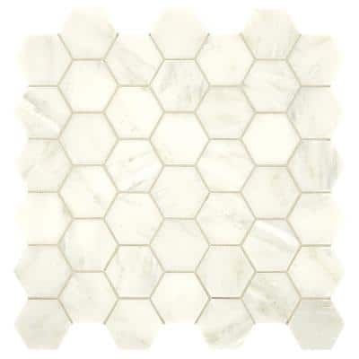 Premier Accents Cloud Hexagon 12 in. x 12 in. x 8 mm Stone Mosaic Floor and Wall Tile (1 sq. ft./Each)