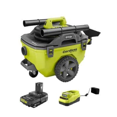 ONE+ 18V Cordless 6 Gal. Wet/Dry Vacuum w/ Hose, Crevice Tool, Floor Nozzle, Extension Wand, 2.0 Ah Battery, and Charger