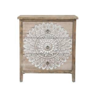 3-Drawer Wood Medallion Chest Dresser (28.15 in. H x 25.2 in. W x 13.19 in. D)