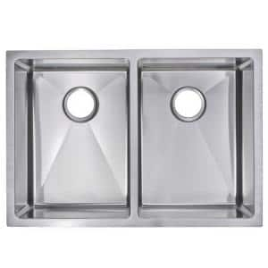 Undermount Stainless Steel 29 in. Double Bowl Kitchen Sink with Strainer in Satin