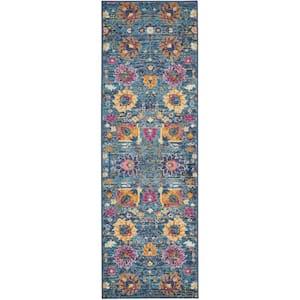 Passion Denim 2 ft. x 6 ft. Persian Vintage Runner Rug