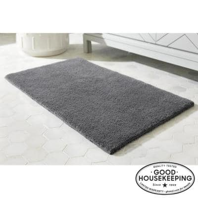 Charcoal 24 in. x 40 in. Cotton Reversible Bath Rug