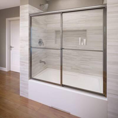 Deluxe 56 in. x 56 in. Framed Sliding Tub Door in Silver
