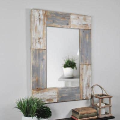 Medium Rectangle Aged White And Gray Contemporary Mirror (31.5 in. H x 1.5 in. W)
