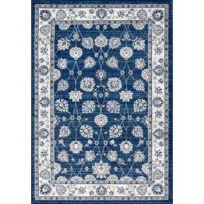 Modern Persian Vintage Moroccan Traditional Navy/Light Grey 8 ft. x 10 ft. Area Rug