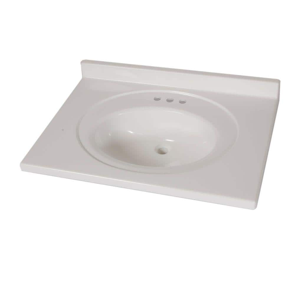 St Paul 31 In X 22 In Cultured Marble Vanity Top In White With White Sink Abi3122comy Wh The Home Depot
