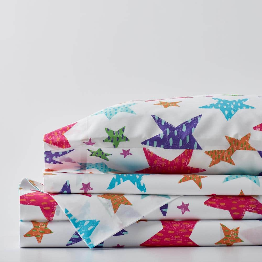 Company Kids By The Company Store Bright Stars 4 Piece Multicolored Graphic 200 Thread Count Organic Cotton Percale Queen Sheet Set 30335l Q Multi The Home Depot