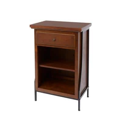 Leighton Bathroom Collection 23.75 in. W 2-Tier Floor Shelf with Drawer in Brown