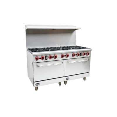 60 in. 5.9 cu. ft. Commercial 10 Burner Double Oven Gas Range in Stainless Steel
