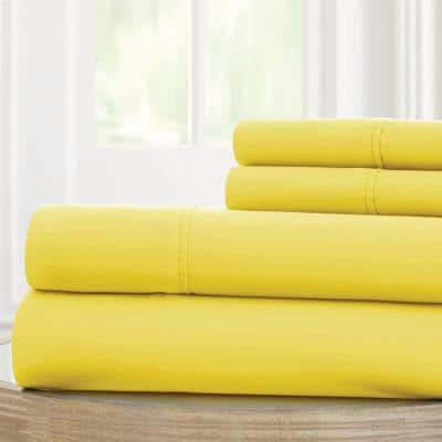 1800 Series 100 gsm Yellow Queen Solid Microfiber 4-Piece Sheet Set