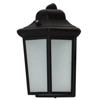 Black Integrated LED Outdoor Coach Light Sconce with Dusk-To-Dawn