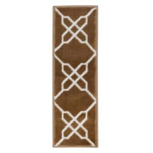 Zigzag Collection Beige 9 in. x 28 in. Polypropylene Stair Tread Cover (Set of 7)
