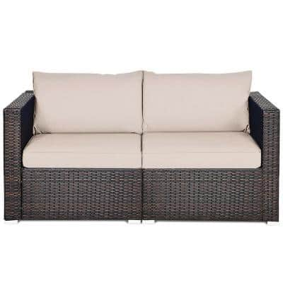 2-Piece Metal Rattan Outdoor Sectional Conversation Sofa with Beige Cushions