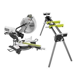 12 in. Sliding Miter Saw with LED and Miter Saw Stand with Tool-Less Height Adjustment