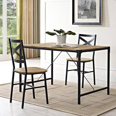 Angle Iron 5-Piece Barnwood Wood Dining Set