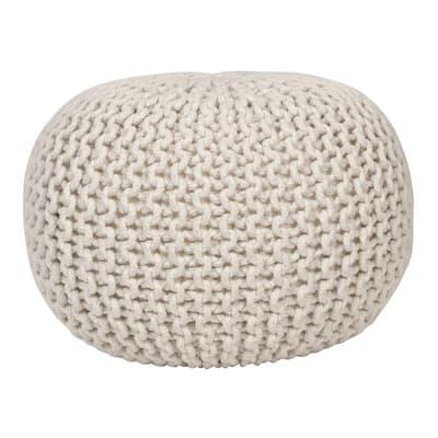 Lola Lurex Off-White Round Pouffe