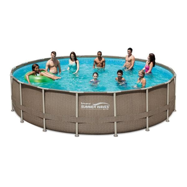 Summer Waves Elite 18 Ft Round 52 In Deep Elite Metal Frame Pool W Sand Filter Cover Surestep Ladder And Maint Kit P4j018523 The Home Depot