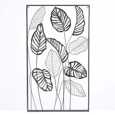 Metal Framed Vertical Leaf Wall Decor