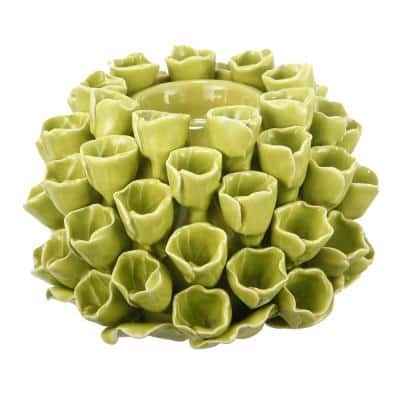 Open Coral Lime Green Ceramic Candle Holder