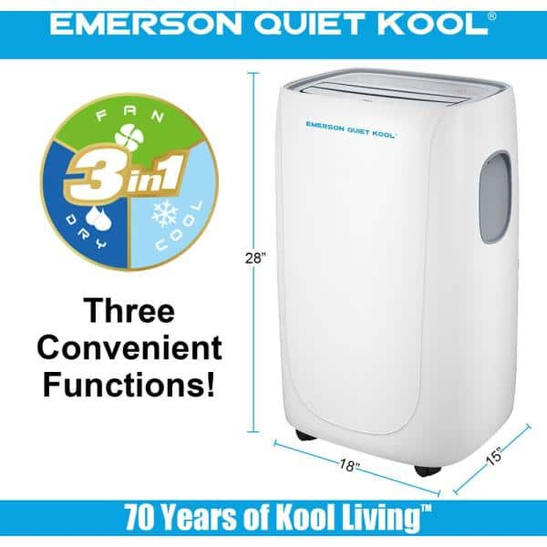 Emerson Quiet Kool 12000 BTU 8000 BTU (DOE) Portable Air Conditioner with  Remote, Wi-Fi, and Voice Control for Rooms up to 550 sq. ft.-EAPC14RSD1 -  The Home DepotThe Home Depot