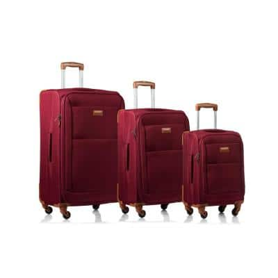CHAMPS Classic 28 in.,24 in., 20 in. Red Softside Luggage Set with Spinner Wheels (3-Piece)