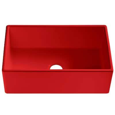 Bradstreet II Farmhouse/Apron-Front Fireclay 30 in. Single Bowl Kitchen Sink in Candy Apple Gloss Red