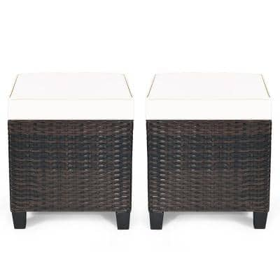 2-Piece Wicker Outdoor Patio Ottoman with Beige Cushions
