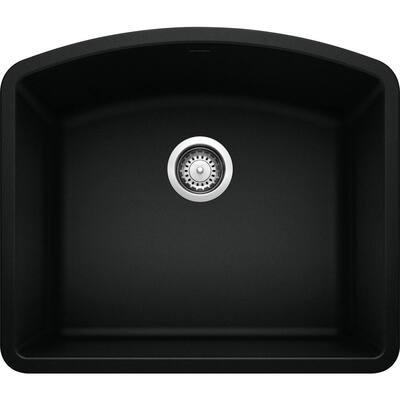 DIAMOND Coal Black Granite Composite 24.06 in. Single Bowl Undermount Kitchen Sink