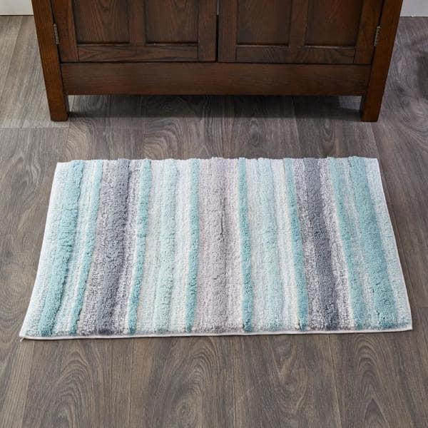 Skl Home Teal 20 In X 30 In Cotton Water Stripe Bath Rug U2327600850007 The Home Depot