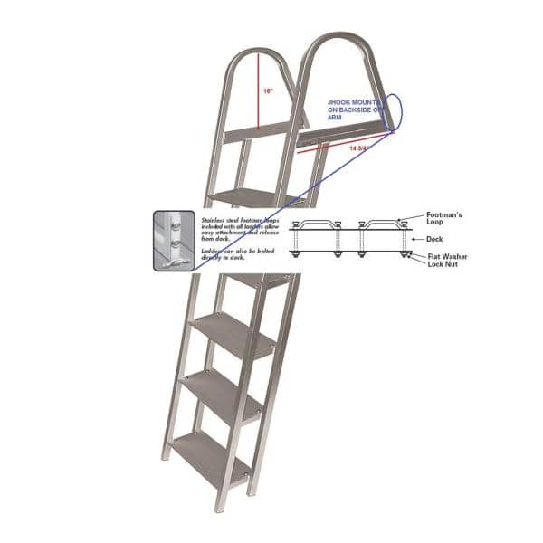 Tommy Docks 7 Step Angled Aluminum Ladder With Mounting Hardware Td 60266 The Home Depot