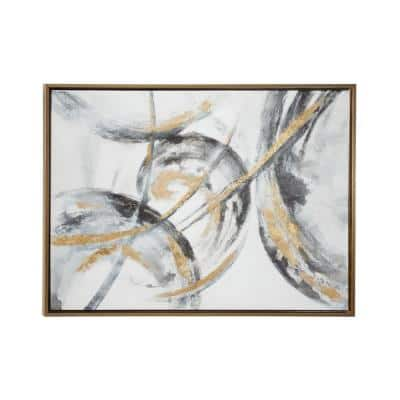 """Large Metallic Gold & Black Contemporary Abstract Art Painting in Metallic Gold Wood Frame, 39.5"""" x 29.5"""""""