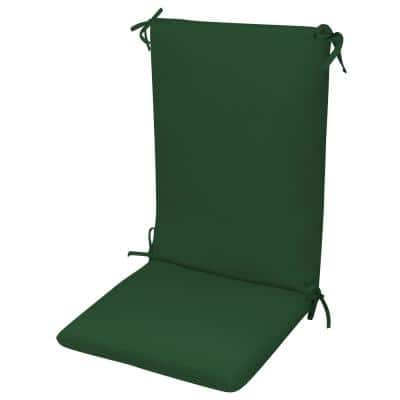 High Back Chair Cushion Knife Edge Hinged Solution Dyed Polyester Polyester Fiber Fill Forest Green Sun Spun Fabric