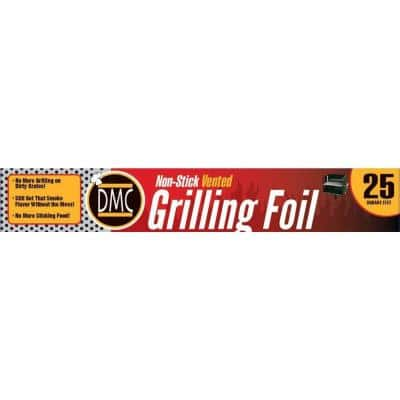 25 sq. ft. Heavy-Duty Non Stick Aluminum Grilling Foil with Vented Holes