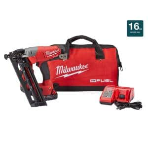 M18 FUEL 18-Volt Lithium-Ion Brushless Cordless 16-Gauge Angled Finish Nailer Kit with (1) 2.0Ah Battery, Charger & Bag