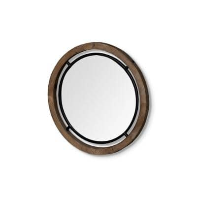 Small Round Naturally Finished Wood Classic Mirror (19.3 in. H x 19.3 in. W)
