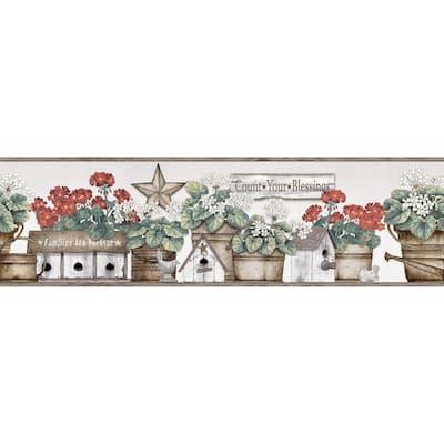 Geranium Multicolor Flower Pot Multicolor Wallpaper Border