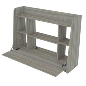 43.3 in. Width Rectangular Smoke Oak Wall Mounted Floating Desk with 6-Shelves