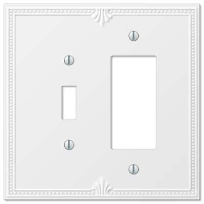 Richmond 2 Gang 1-Toggle and 1-Rocker Composite Wall Plate - White