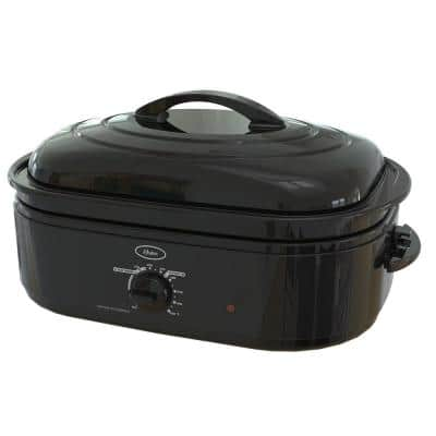 18 Qt. Black Roaster Oven with Self-Basting Lid