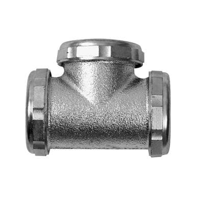1-1/2 in. 20-Gauge Chrome-Plated Brass Sink Drain Center Outlet Waste Slip-Joint Tee