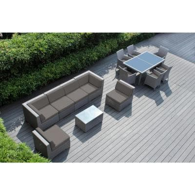 Gray 14-Piece Wicker Patio Combo Conversation Set with Sunbrella Taupe Cushions